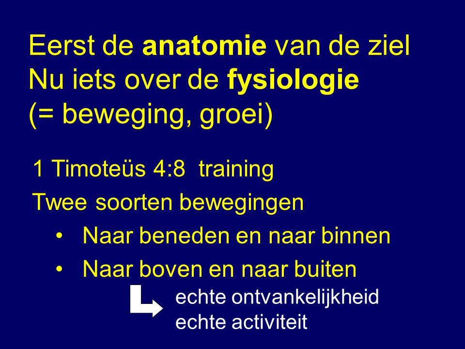 Eerst de anatomie van de ziel Nu iets over de fysiologie (= beweging, groei) 1 Timoteüs 4:8 training Twee soorten bewegingen •Naar beneden en naar bin