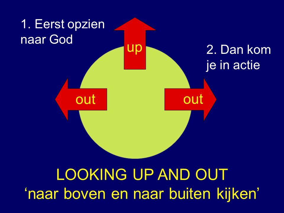 LOOKING UP AND OUT 'naar boven en naar buiten kijken' up 2. Dan kom je in actie 1.Eerst opzien naar God out