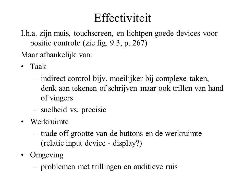 Effectiviteit I.h.a. zijn muis, touchscreen, en lichtpen goede devices voor positie controle (zie fig. 9.3, p. 267) Maar afhankelijk van: •Taak –indir