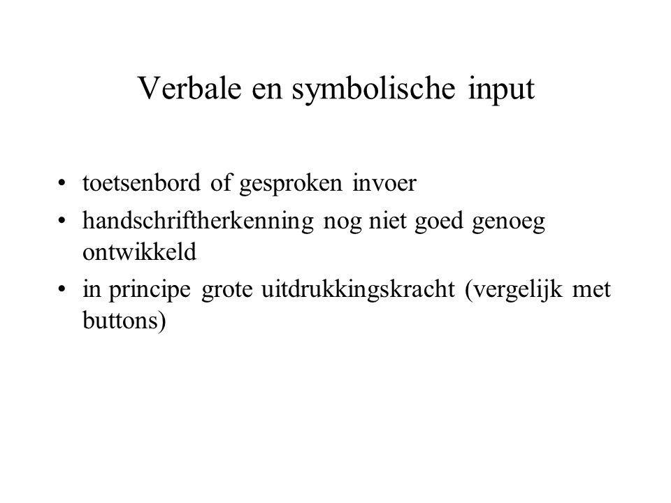 Verbale en symbolische input •toetsenbord of gesproken invoer •handschriftherkenning nog niet goed genoeg ontwikkeld •in principe grote uitdrukkingskr