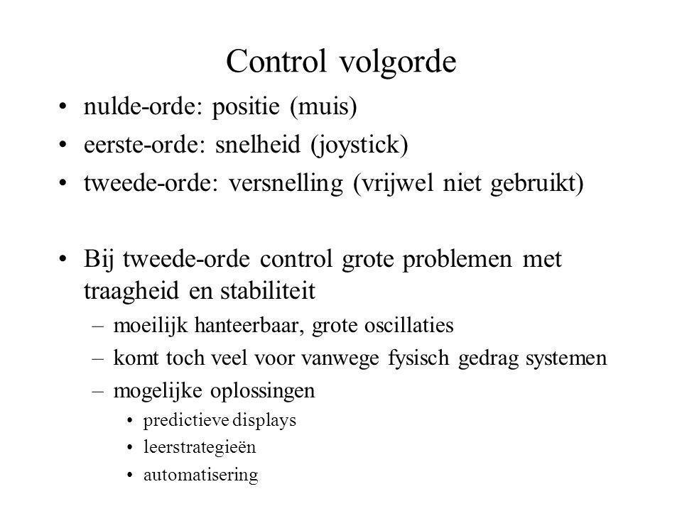 Control volgorde •nulde-orde: positie (muis) •eerste-orde: snelheid (joystick) •tweede-orde: versnelling (vrijwel niet gebruikt) •Bij tweede-orde cont