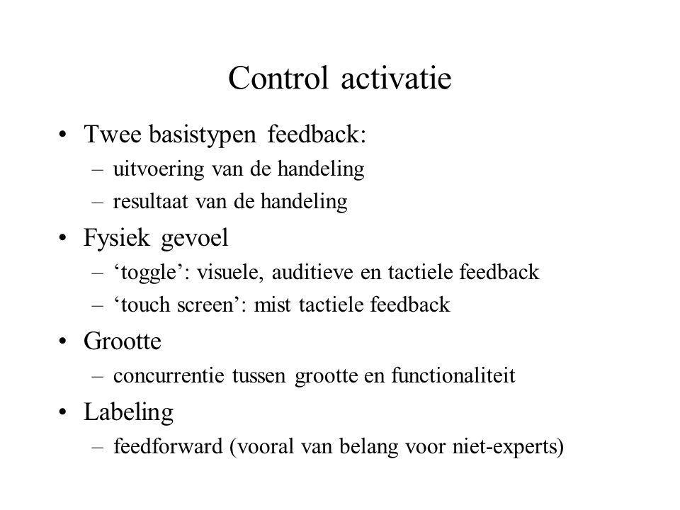 Control activatie •Twee basistypen feedback: –uitvoering van de handeling –resultaat van de handeling •Fysiek gevoel –'toggle': visuele, auditieve en
