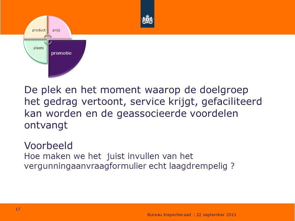 Bureau Inspectieraad | 22 september 2011 17 productprijs promotie plaats De plek en het moment waarop de doelgroep het gedrag vertoont, service krijgt