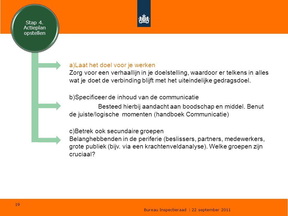 Bureau Inspectieraad | 22 september 2011 19 a)Laat het doel voor je werken Zorg voor een verhaallijn in je doelstelling, waardoor er telkens in alles