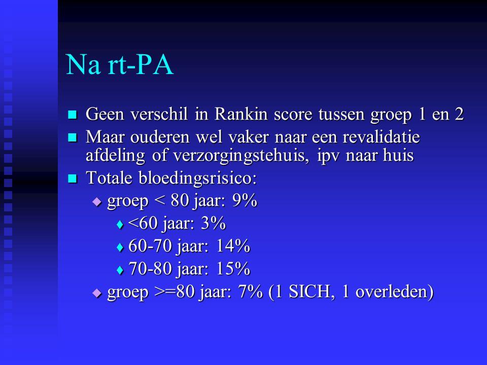 Na rt-PA  Geen verschil in Rankin score tussen groep 1 en 2  Maar ouderen wel vaker naar een revalidatie afdeling of verzorgingstehuis, ipv naar hui