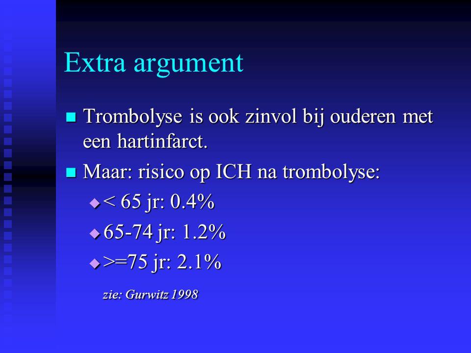 Extra argument  Trombolyse is ook zinvol bij ouderen met een hartinfarct.  Maar: risico op ICH na trombolyse:  < 65 jr: 0.4%  65-74 jr: 1.2%  >=7