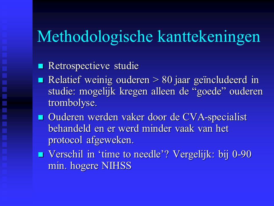 """Methodologische kanttekeningen  Retrospectieve studie  Relatief weinig ouderen > 80 jaar geïncludeerd in studie: mogelijk kregen alleen de """"goede"""" o"""