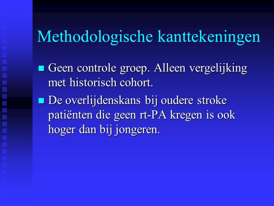 Methodologische kanttekeningen  Geen controle groep. Alleen vergelijking met historisch cohort.  De overlijdenskans bij oudere stroke patiënten die