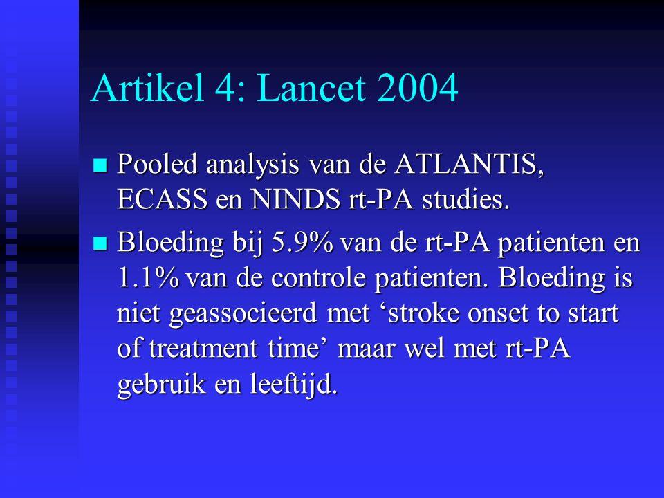 Artikel 4: Lancet 2004  Pooled analysis van de ATLANTIS, ECASS en NINDS rt-PA studies.  Bloeding bij 5.9% van de rt-PA patienten en 1.1% van de cont