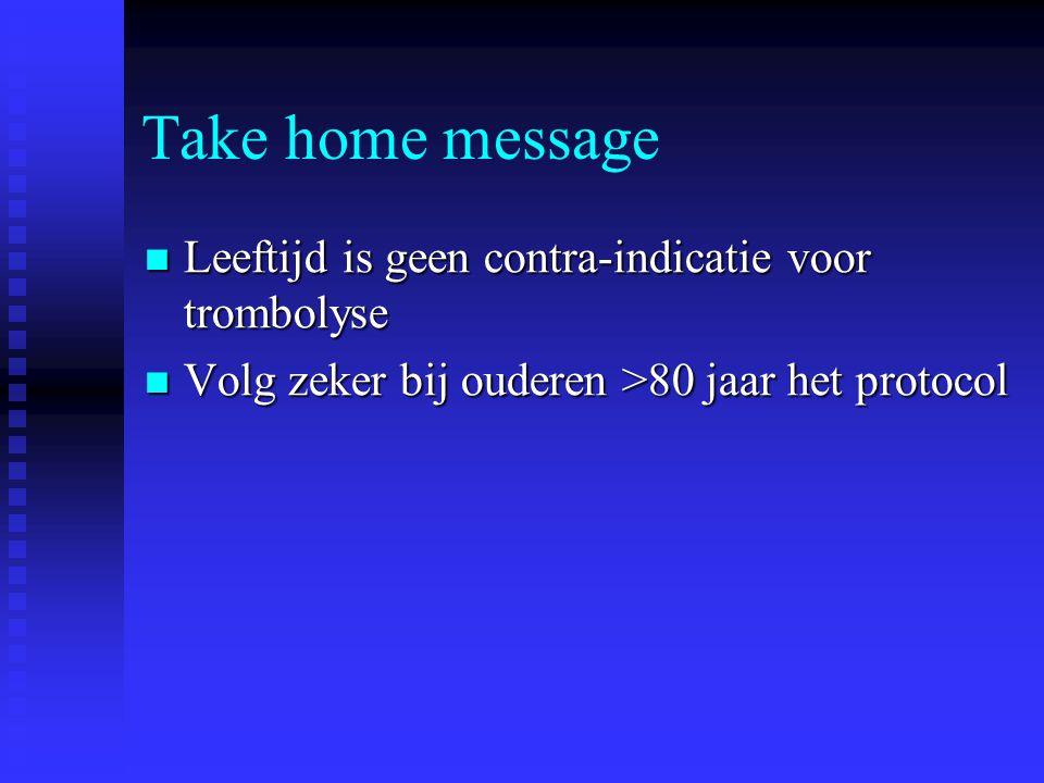 Take home message  Leeftijd is geen contra-indicatie voor trombolyse  Volg zeker bij ouderen >80 jaar het protocol