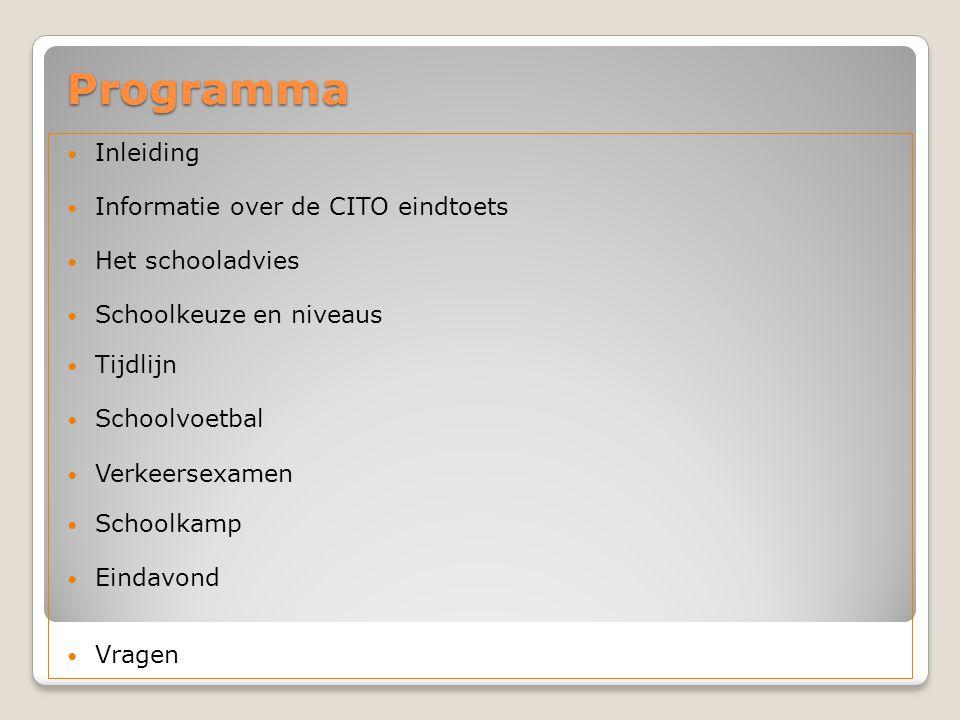 Programma  Inleiding  Informatie over de CITO eindtoets  Het schooladvies  Schoolkeuze en niveaus  Tijdlijn  Schoolvoetbal  Verkeersexamen  Sc