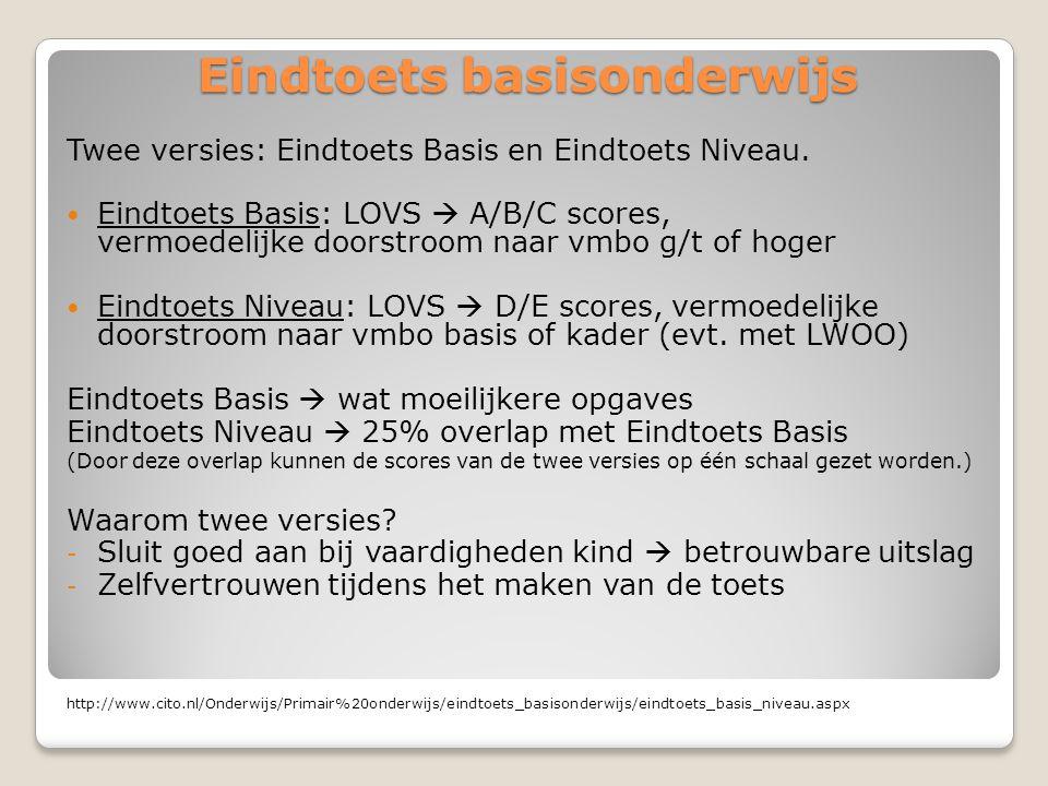 Eindtoets basisonderwijs Twee versies: Eindtoets Basis en Eindtoets Niveau.  Eindtoets Basis: LOVS  A/B/C scores, vermoedelijke doorstroom naar vmbo