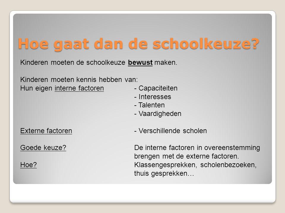 Hoe gaat dan de schoolkeuze? Kinderen moeten de schoolkeuze bewust maken. Kinderen moeten kennis hebben van: Hun eigen interne factoren- Capaciteiten