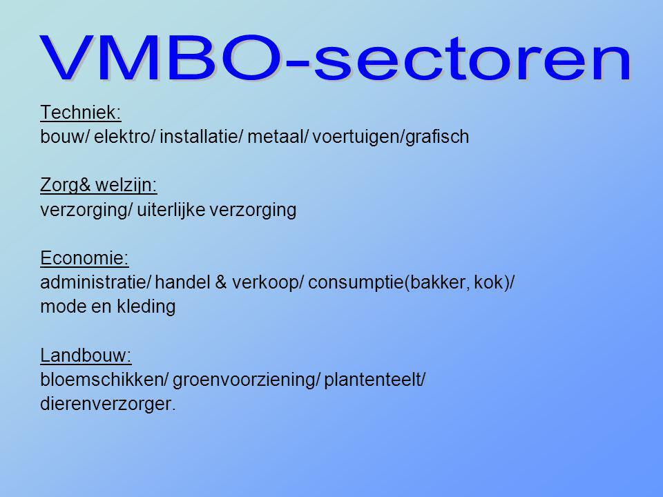 Techniek: bouw/ elektro/ installatie/ metaal/ voertuigen/grafisch Zorg& welzijn: verzorging/ uiterlijke verzorging Economie: administratie/ handel & v