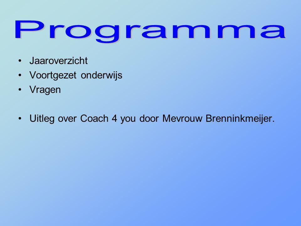 •Jaaroverzicht •Voortgezet onderwijs •Vragen •Uitleg over Coach 4 you door Mevrouw Brenninkmeijer.