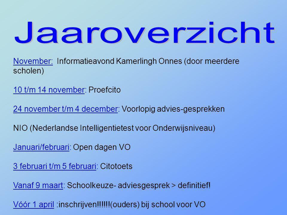 November: Informatieavond Kamerlingh Onnes (door meerdere scholen) 10 t/m 14 november: Proefcito 24 november t/m 4 december: Voorlopig advies-gesprekk