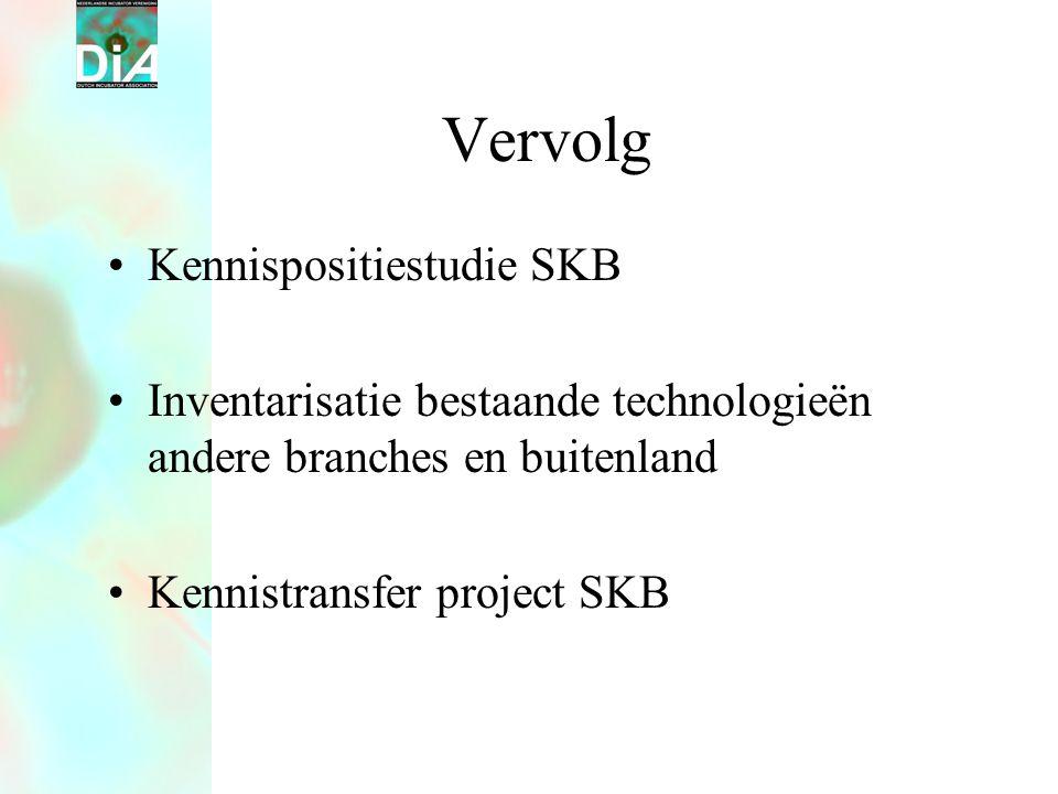 Vervolg •Kennispositiestudie SKB •Inventarisatie bestaande technologieën andere branches en buitenland •Kennistransfer project SKB