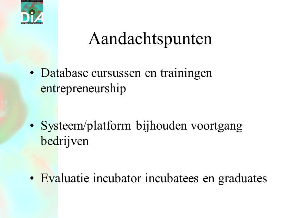 Aandachtspunten •Database cursussen en trainingen entrepreneurship •Systeem/platform bijhouden voortgang bedrijven •Evaluatie incubator incubatees en graduates
