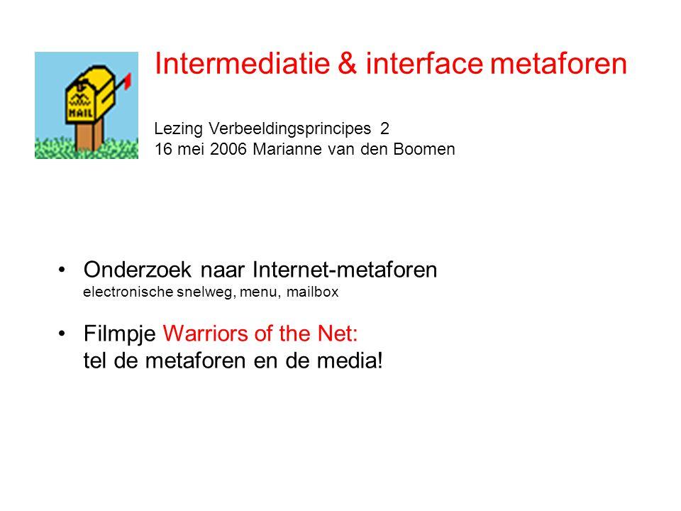 Intermediatie = remediatie + demediatie + transmediatie •Intermediatie: mediatie van de mediatie •Beter dan intermedialiteit: nadruk op processen en tussenschakels i.p.v.