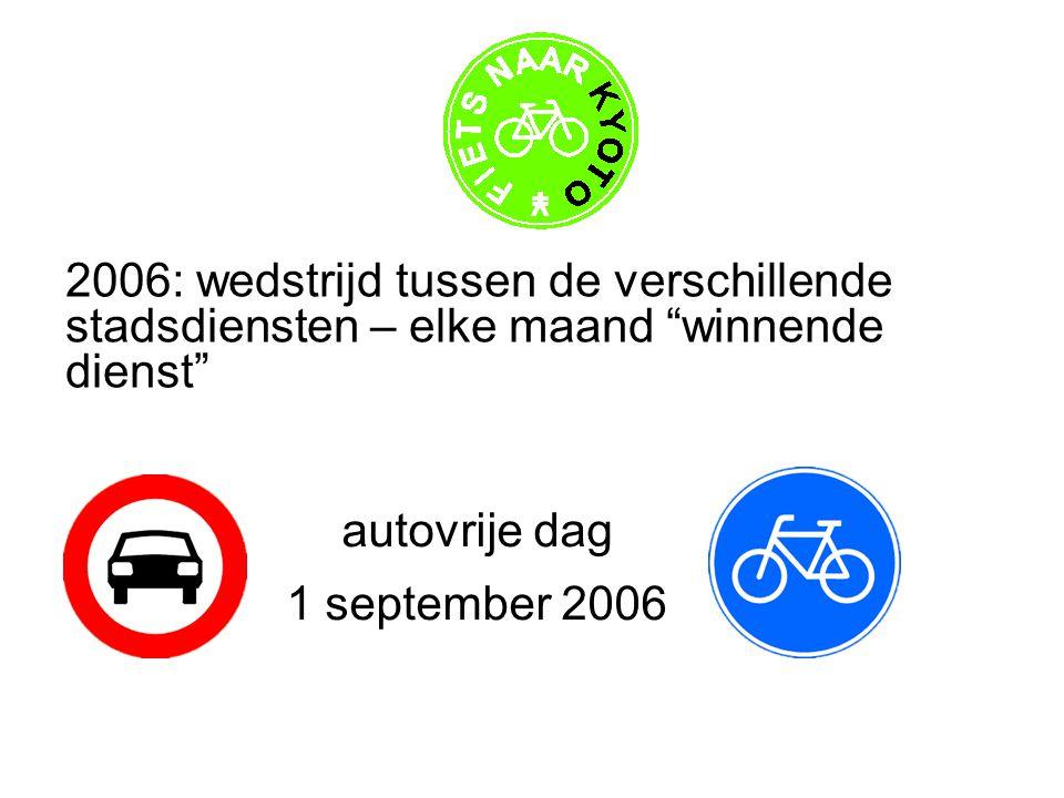 2006: wedstrijd tussen de verschillende stadsdiensten – elke maand winnende dienst autovrije dag 1 september 2006