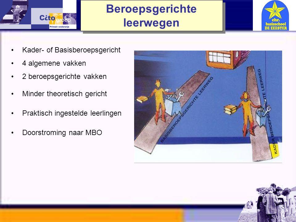 •VMBO - Theoretisch –6 algemene vakken –niveau zoals mavo - D •VMBO – Gemengd –5 algemene vakken –1 beroepsgericht vak •VMBO – Kaderberoepsgericht –4
