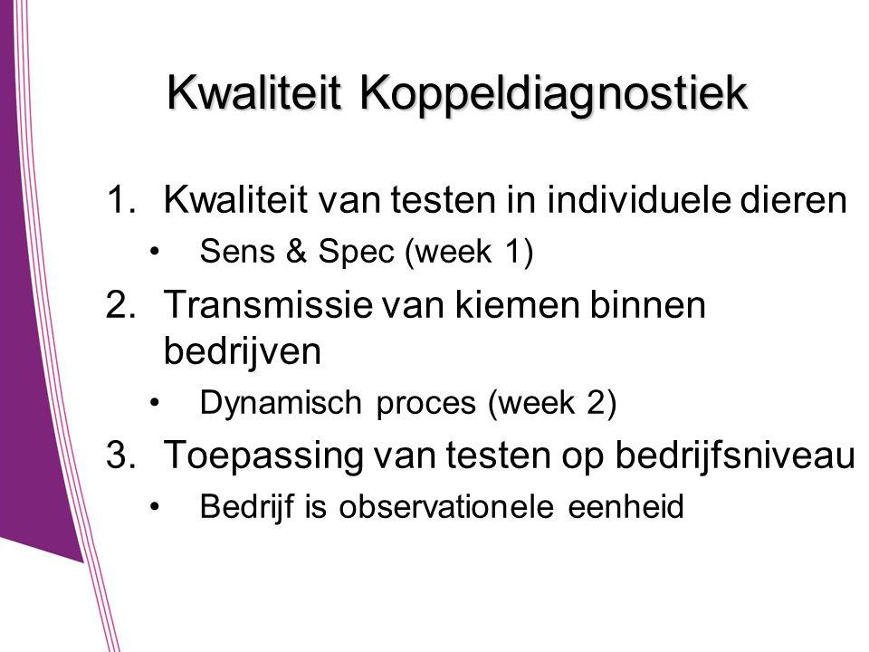 Kwaliteit Koppeldiagnostiek 1.Kwaliteit van testen in individuele dieren •Sens & Spec (week 1) 2.Transmissie van kiemen binnen bedrijven •Dynamisch proces (week 2) 3.Toepassing van testen op bedrijfsniveau •Bedrijf is observationele eenheid