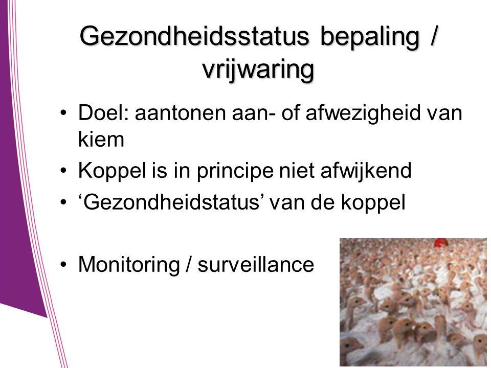 Gezondheidsstatus bepaling / vrijwaring •Doel: aantonen aan- of afwezigheid van kiem •Koppel is in principe niet afwijkend •'Gezondheidstatus' van de koppel •Monitoring / surveillance