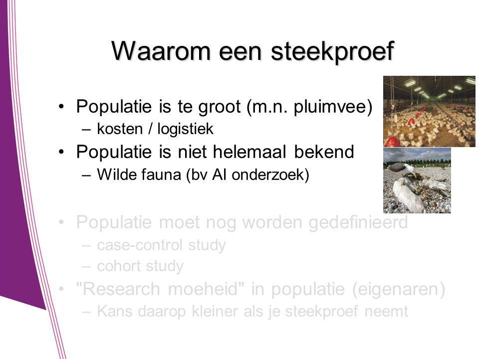 Waarom een steekproef •Populatie is te groot (m.n. pluimvee) –kosten / logistiek •Populatie is niet helemaal bekend –Wilde fauna (bv AI onderzoek) •Po