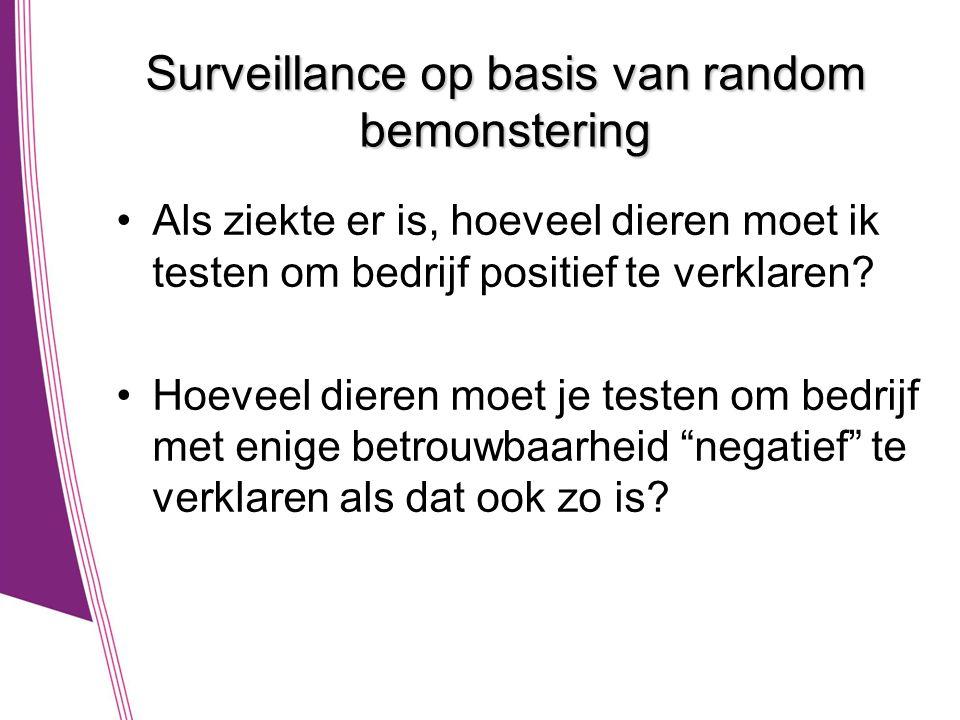 Surveillance op basis van random bemonstering •Als ziekte er is, hoeveel dieren moet ik testen om bedrijf positief te verklaren? •Hoeveel dieren moet