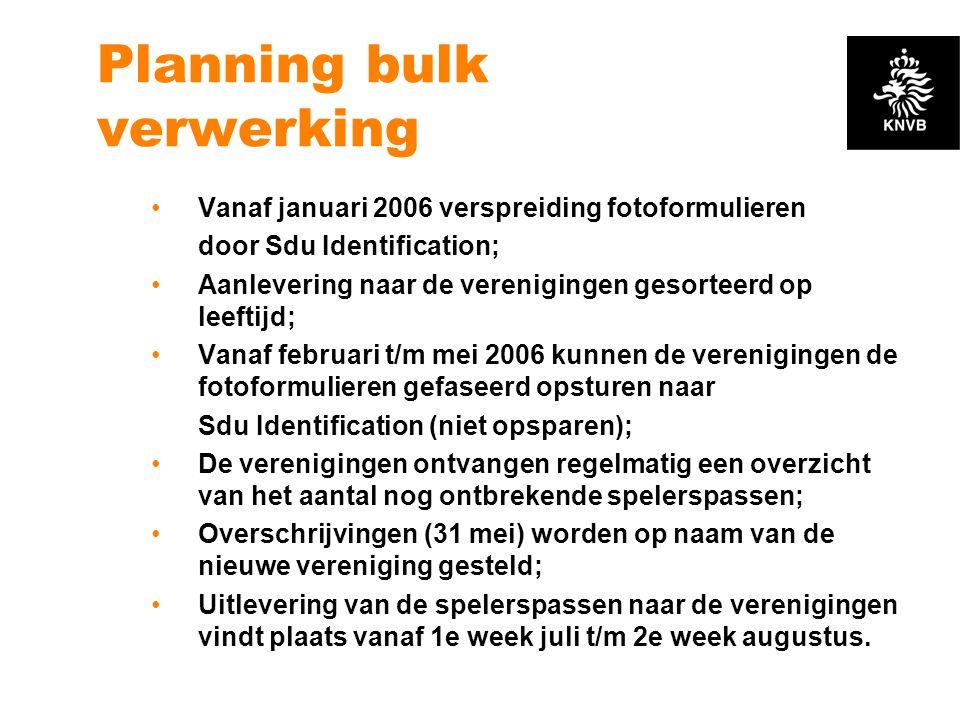 Planning bulk verwerking •Vanaf januari 2006 verspreiding fotoformulieren door Sdu Identification; •Aanlevering naar de verenigingen gesorteerd op lee