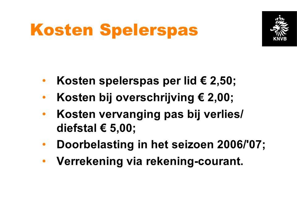Kosten Spelerspas •Kosten spelerspas per lid € 2,50; •Kosten bij overschrijving € 2,00; •Kosten vervanging pas bij verlies/ diefstal € 5,00; •Doorbela