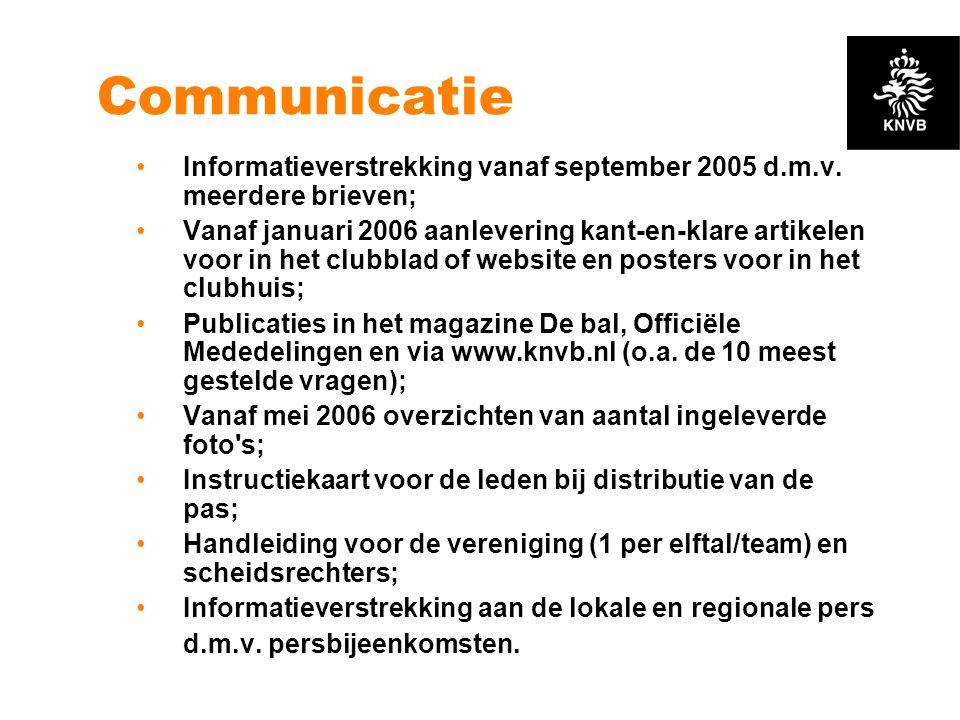 Communicatie •Informatieverstrekking vanaf september 2005 d.m.v. meerdere brieven; •Vanaf januari 2006 aanlevering kant-en-klare artikelen voor in het