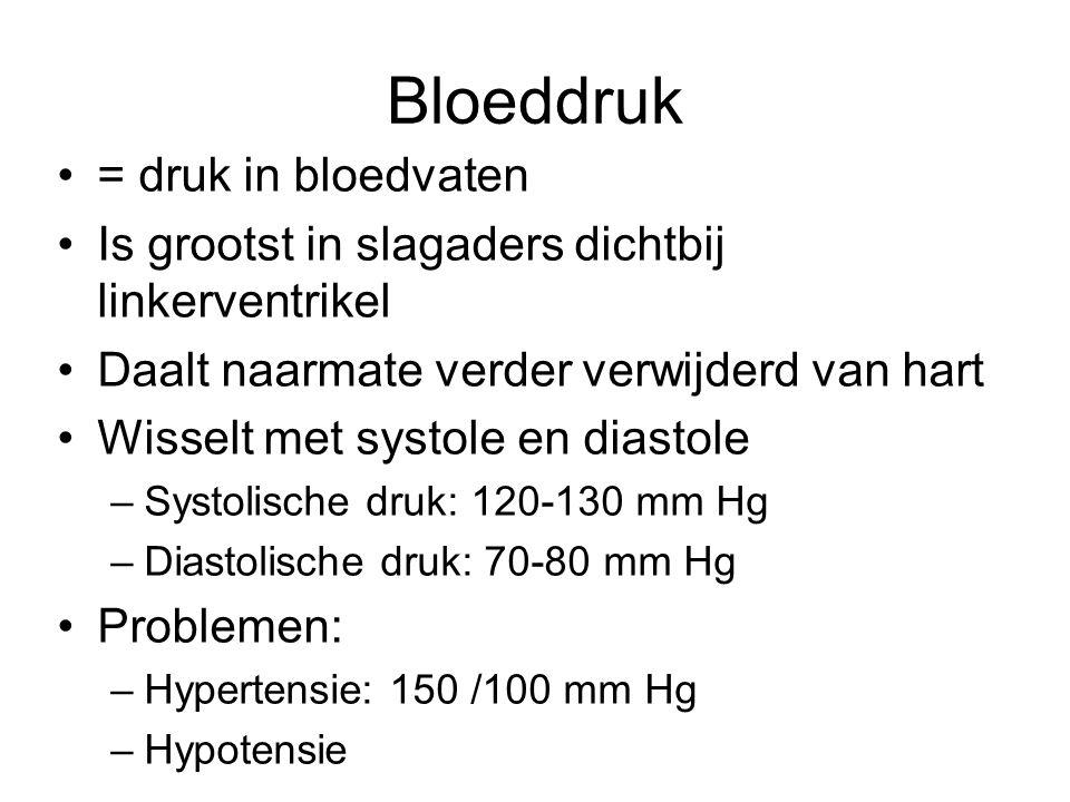 Bloeddruk •= druk in bloedvaten •Is grootst in slagaders dichtbij linkerventrikel •Daalt naarmate verder verwijderd van hart •Wisselt met systole en diastole –Systolische druk: 120-130 mm Hg –Diastolische druk: 70-80 mm Hg •Problemen: –Hypertensie: 150 /100 mm Hg –Hypotensie