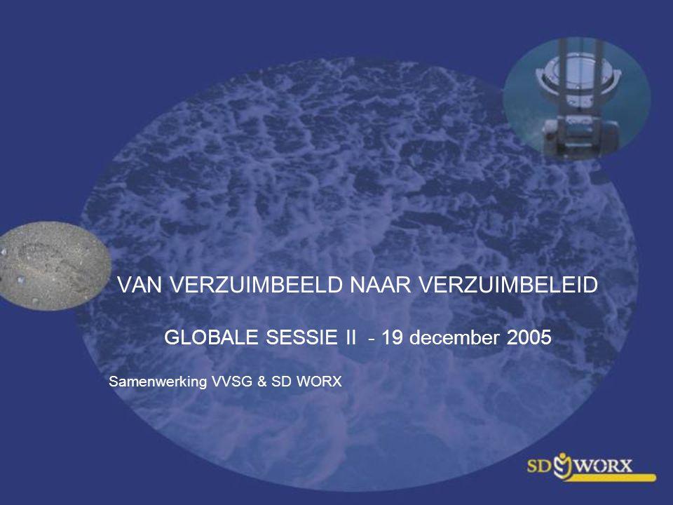 VAN VERZUIMBEELD NAAR VERZUIMBELEID GLOBALE SESSIE II - 19 december 2005 Samenwerking VVSG & SD WORX