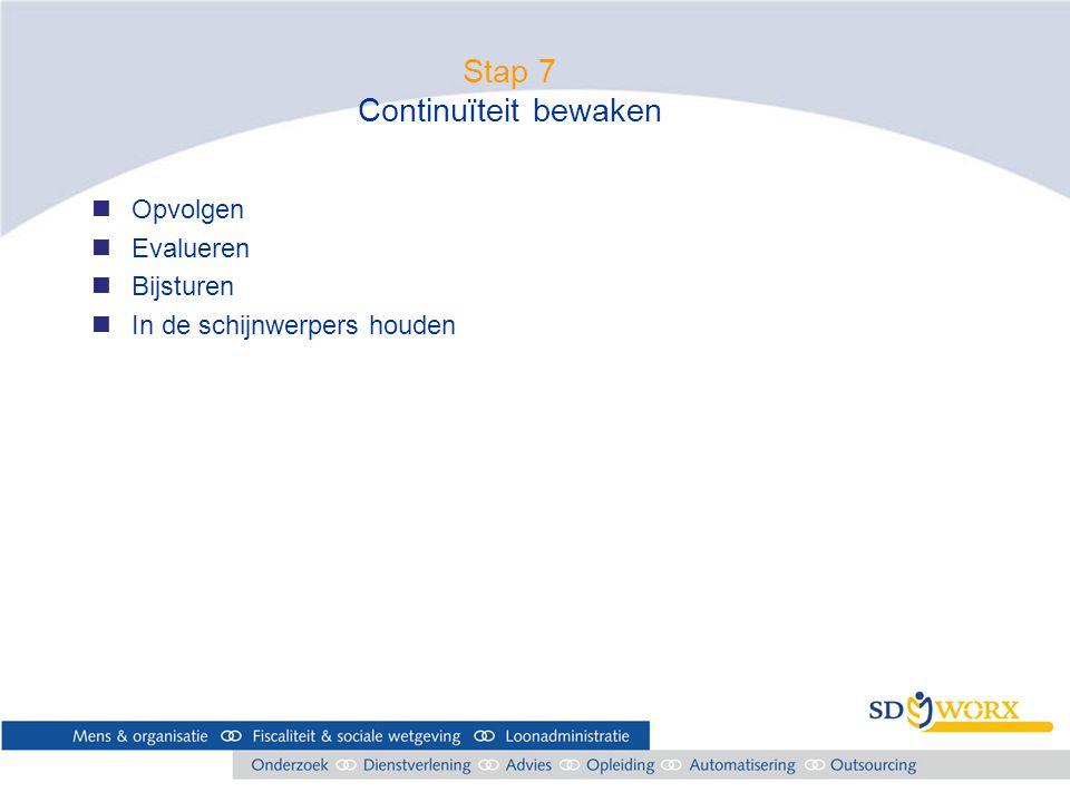 Stap 7 Continuïteit bewaken nOpvolgen nEvalueren nBijsturen nIn de schijnwerpers houden