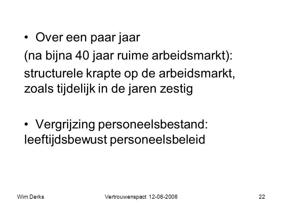 Wim DerksVertrouwenspact 12-06-200622 • Over een paar jaar (na bijna 40 jaar ruime arbeidsmarkt): structurele krapte op de arbeidsmarkt, zoals tijdelijk in de jaren zestig • Vergrijzing personeelsbestand: leeftijdsbewust personeelsbeleid