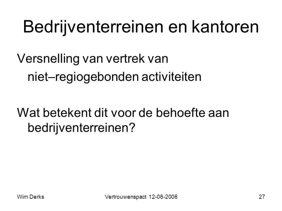 Wim DerksVertrouwenspact 12-06-200627 Bedrijventerreinen en kantoren Versnelling van vertrek van niet–regiogebonden activiteiten Wat betekent dit voor de behoefte aan bedrijventerreinen?