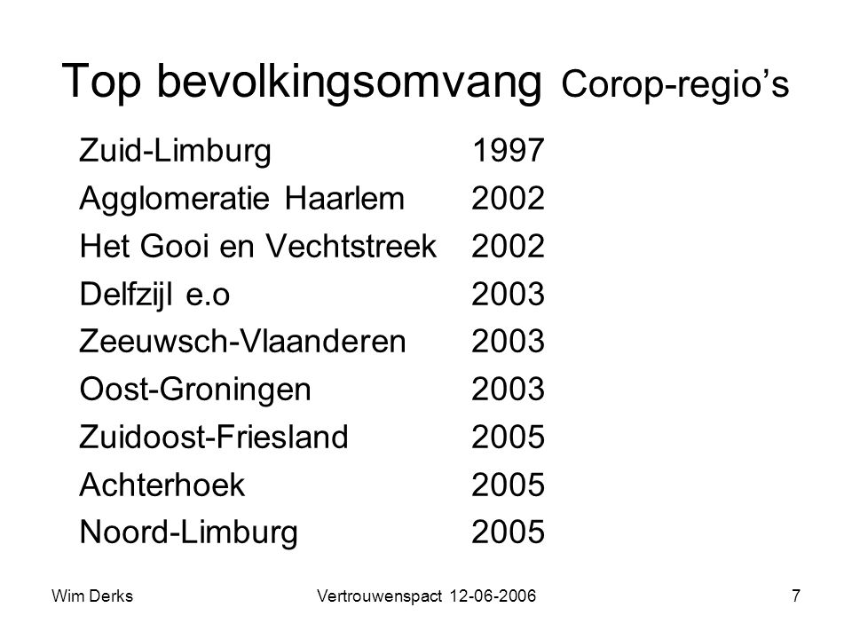 Wim DerksVertrouwenspact 12-06-20067 Top bevolkingsomvang Corop-regio's Zuid-Limburg1997 Agglomeratie Haarlem2002 Het Gooi en Vechtstreek2002 Delfzijl e.o 2003 Zeeuwsch-Vlaanderen2003 Oost-Groningen2003 Zuidoost-Friesland2005 Achterhoek2005 Noord-Limburg2005