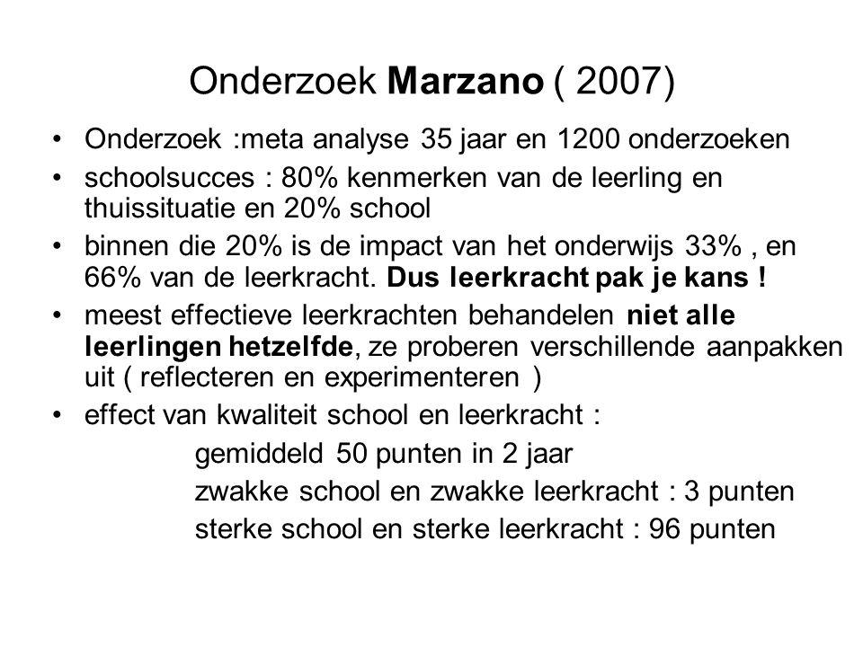 Onderzoek Marzano ( 2007) •Onderzoek :meta analyse 35 jaar en 1200 onderzoeken •schoolsucces : 80% kenmerken van de leerling en thuissituatie en 20% school •binnen die 20% is de impact van het onderwijs 33%, en 66% van de leerkracht.