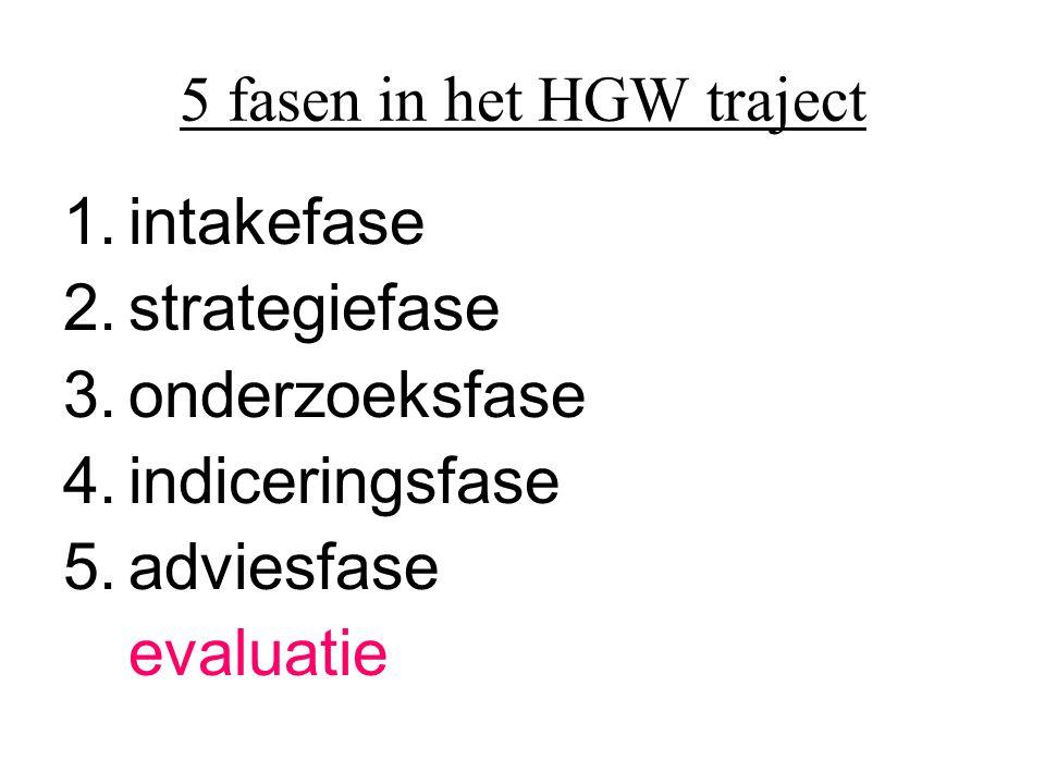 5 fasen in het HGW traject 1.intakefase 2.strategiefase 3.onderzoeksfase 4.indiceringsfase 5.adviesfase evaluatie