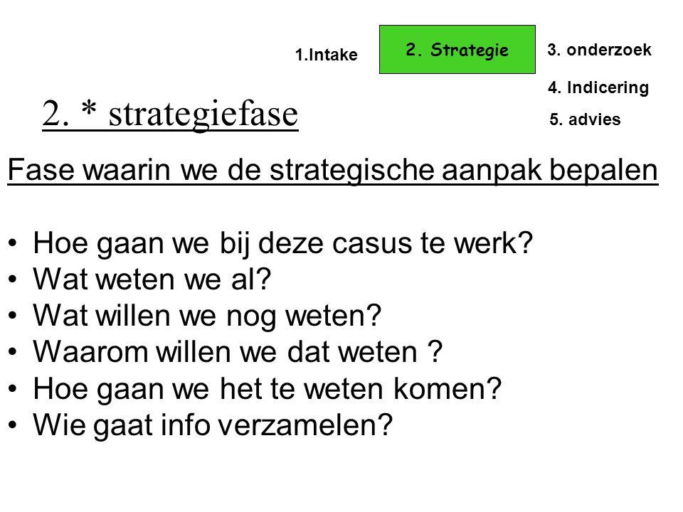 2. * strategiefase Fase waarin we de strategische aanpak bepalen •Hoe gaan we bij deze casus te werk? •Wat weten we al? •Wat willen we nog weten? •Waa