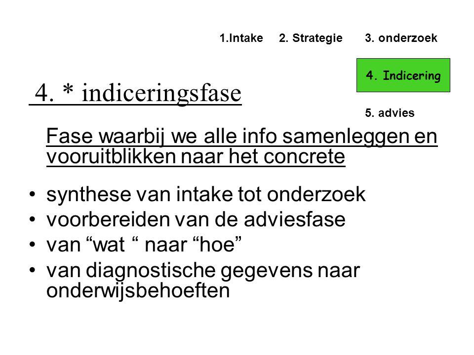 4. * indiceringsfase Fase waarbij we alle info samenleggen en vooruitblikken naar het concrete •synthese van intake tot onderzoek •voorbereiden van de