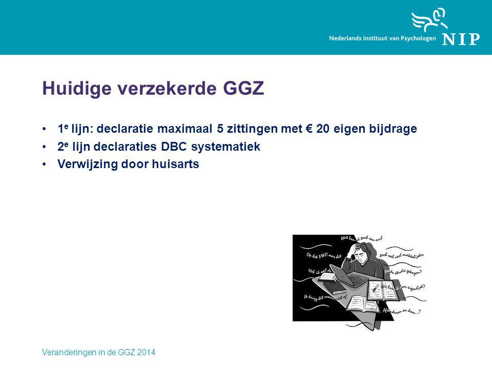 Veranderingen in de GGZ 2014 Huidige verzekerde GGZ • 1 e lijn: declaratie maximaal 5 zittingen met € 20 eigen bijdrage • 2 e lijn declaraties DBC systematiek • Verwijzing door huisarts