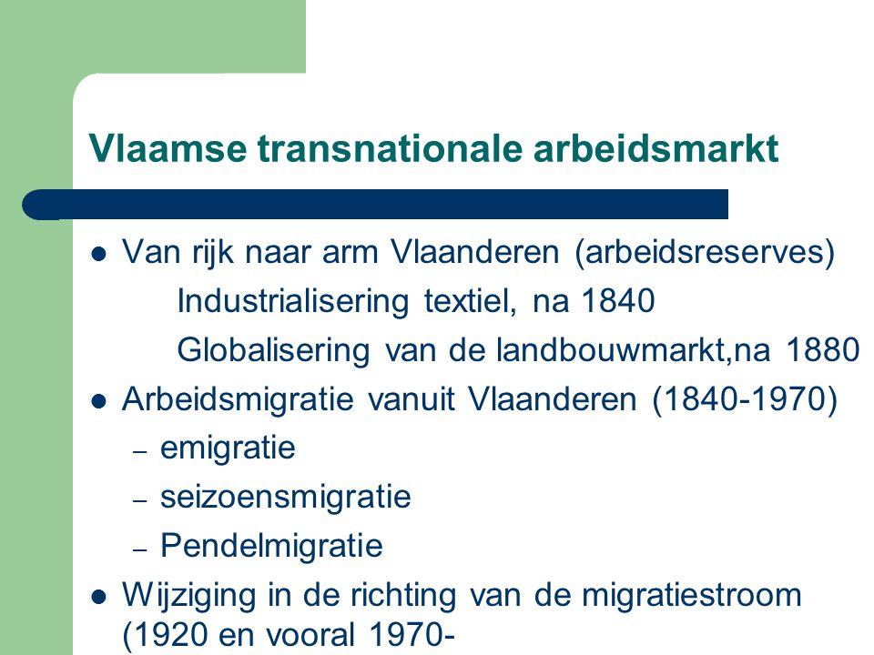 Vlaamse transnationale arbeidsmarkt  Van rijk naar arm Vlaanderen (arbeidsreserves) Industrialisering textiel, na 1840 Globalisering van de landbouwm