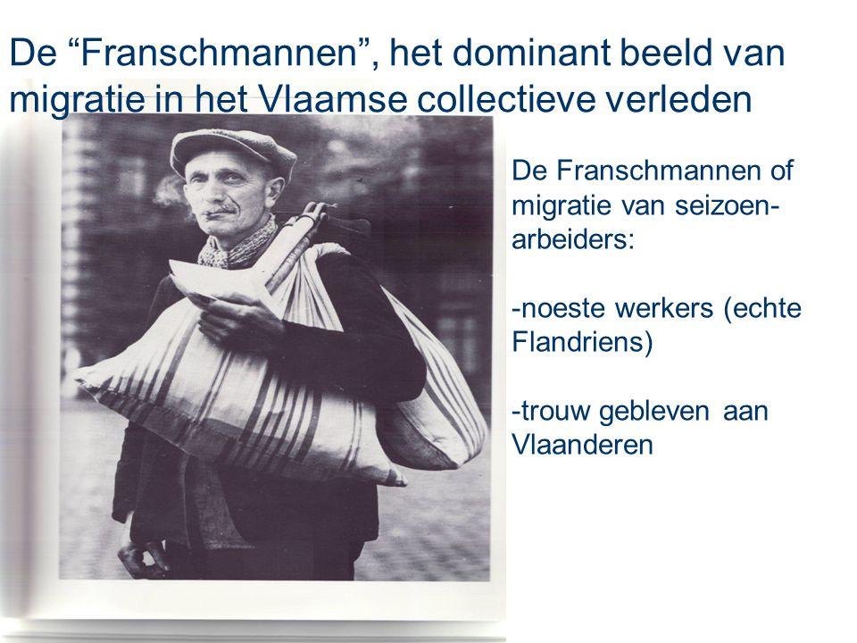"""De Franschmannen of migratie van seizoen- arbeiders: -noeste werkers (echte Flandriens) -trouw gebleven aan Vlaanderen De """"Franschmannen"""", het dominan"""