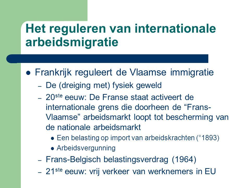Reguleren van de arbeidsmigratie binnen België  Interne migratie: geboorte van de Belgische arbeidsmarkt -Overheidssubsidiëring van transport (spoorabonnementen) waardoor Vlaamse emigratie die explodeert en zich transformeert tot pendelarbeid, vooral naar Wallonië (1920 achturendag) -Arbeidsbemiddeling op nationaal niveau: streven naar volledige en waardige tewerkstelling