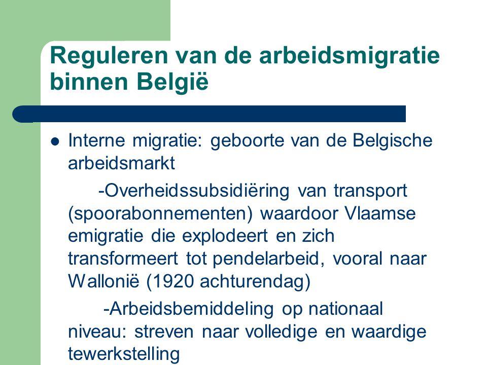 Reguleren van de arbeidsmigratie binnen België  Interne migratie: geboorte van de Belgische arbeidsmarkt -Overheidssubsidiëring van transport (spoora