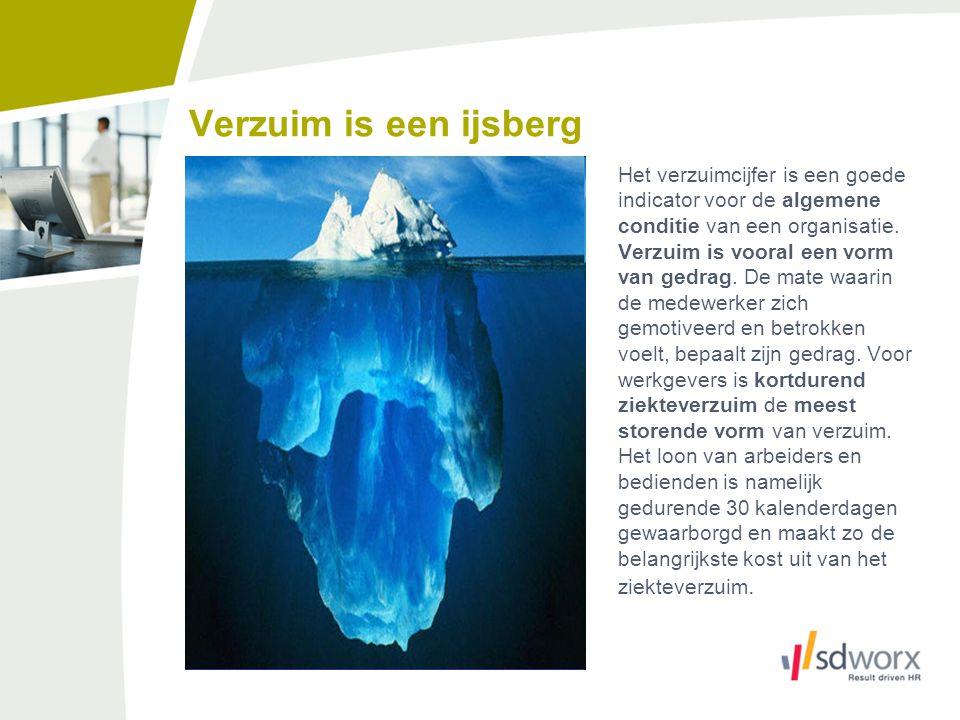 Verzuim is een ijsberg Het verzuimcijfer is een goede indicator voor de algemene conditie van een organisatie. Verzuim is vooral een vorm van gedrag.