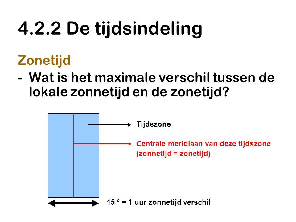 4.2.2 De tijdsindeling Zonetijd -Wat is het maximale verschil tussen de lokale zonnetijd en de zonetijd? Tijdszone Centrale meridiaan van deze tijdszo