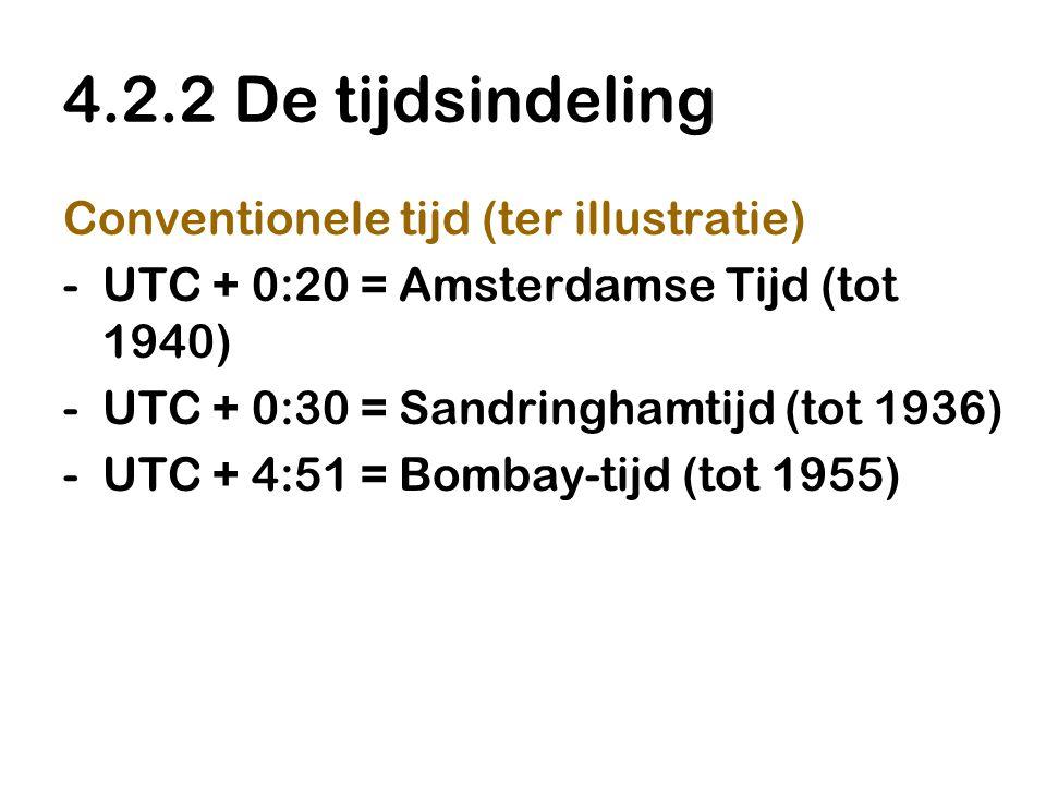 4.2.2 De tijdsindeling Conventionele tijd (ter illustratie) -UTC + 0:20 = Amsterdamse Tijd (tot 1940) -UTC + 0:30 = Sandringhamtijd (tot 1936) -UTC +